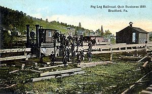 Bradford and Foster Brook Railway - Image: Peg Leg Railroad, Quit Business 1880, Bradford, PA