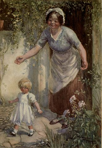 Peggotty - Peggotty and little David. Art by Frank Reynolds (1910).