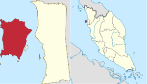 Penang Island (red) in Penang (left) and West Malaysia (right)