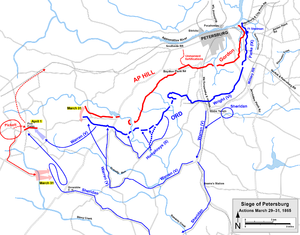 Battle of White Oak Road - Actions at Petersburg before and during the Battle of Five Forks