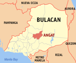 Map of Bulakan showing the location of Angat.