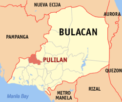 Map of Bulakan showing the location of Pulilán.