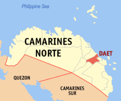 Map of Camarines Norte with Daet highlighted