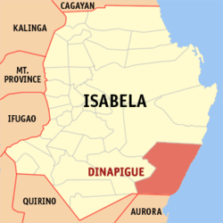 Map of Isabela showing the location of Dinapigue
