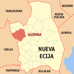 Map of Nueva Ecija showing the location of Guimba.