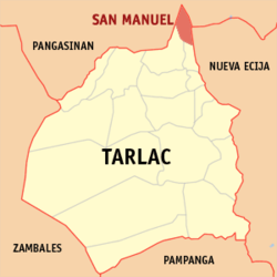 Map of Tarlac showing the location of San Manuel