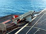 Phantom FG.1 of 892 NAS launching from HMS Ark Royal (R09) 1972.jpg