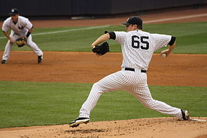 2012 New York Yankees season - Image: Phil Hughes Yankees Orioles 8 1 12