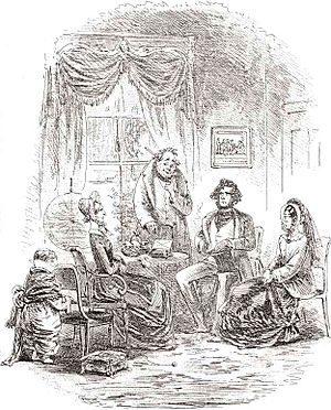 "Edward Murdstone - Phiz: ""The momentous interview"".  Edward Murdstone and his sister Jane discuss David Copperfield's future with his aunt, Betsey Trotwood."