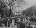Photograph of a crowd of people in front of the White House, at about the time President Harry S. Truman was sworn... - NARA - 199066.tif
