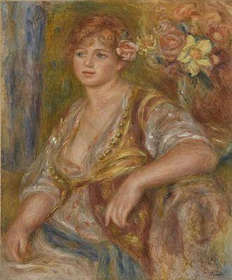 Catherine Hessling - Blonde à la rose, Andrée, 1915-1917 by Pierre-Auguste Renoir