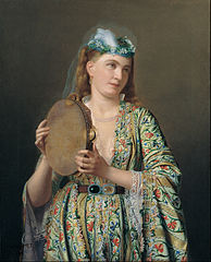 Portrait of a Lady of the Court Playing the Tambourine