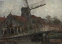 Piet Mondriaan - Houses and paltrok mill on the Voorweg - A185 - Piet Mondrian, catalogue raisonné.jpg