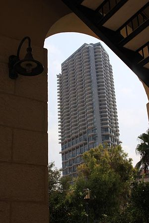Neve Tzedek - Nehoshtan Tower, a controversial project carried out as part of the overall plan