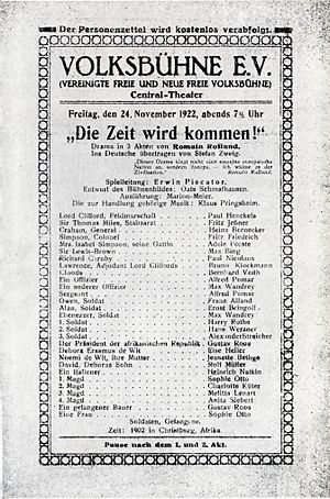 Romain Rolland - Programme sheet for Piscator's 1922 production of Rolland's drama The Time Will Come (1903), at the Central-Theater in Berlin.