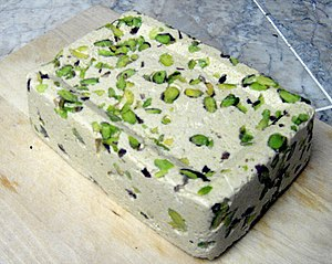 Halva - Tahini-based halva with pistachios