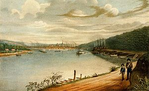 Great Fire of Pittsburgh - View of Pittsburgh as seen from the Ohio River before the Great Fire, from William Coventry Wall's print, Great Conflagration at Pittsburgh. The pollution that would be a contributing factor is evident.