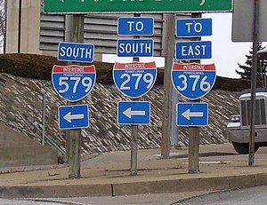 Transportation in Pittsburgh - A road sign with shields for all current three-digit Interstates in Pittsburgh: I-579, I-279, and I-376.