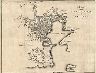"Royal Citadel, Plymouth - ""A Plan of the Town and Citadel of Plymouth"" by Benjamin Donn in 1765. It shows the design of the Royal Citadel as completed, including the outworks which are now lost."