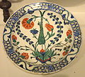 Plate with Carnation, Tulip, Hyacinth, and Cypress, c. 1575, Ottoman dynasty, Iznik, Turkey - Sackler Museum - DSC02525.JPG