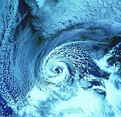 Polar low over the Barents Sea on February 27, 1987