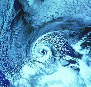 Polar low - A polar low over the Barents Sea on February 23, 1987