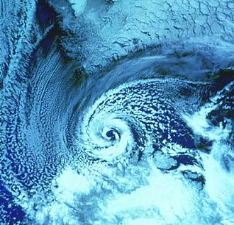 Polar low - A polar low over the Barents Sea in February 1987