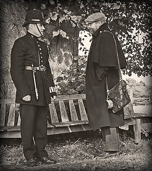 History of law enforcement in the United Kingdom - Victorian Police Officer with itinerant circa 1900 - recreation.