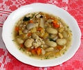 Polish bean soup with poured noodles, by Silar, Sanok 2010.png