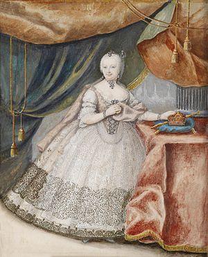 1741 in Austria - Portrait Maria Theresia im Spitzenkleid c1740