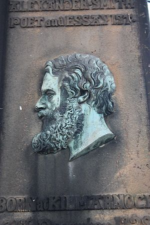 Alexander Smith (poet) - Portrait head of Alexander Smith on his grave, Warriston Cemetery, Edinburgh