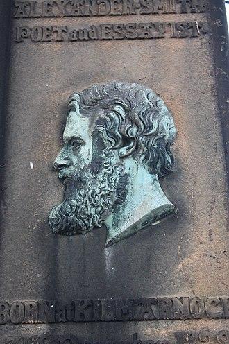 Alexander Smith (poet) - Portrait head of Alexander Smith on his grave, Warriston Cemetery, Edinburgh