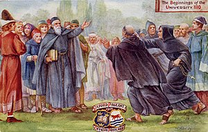 Theobald of Étampes - Theobald's arrival at Oxford, opposed by a pair of monks from Abingdon. A postcard by C. Bowley from 1907, treating Theobald's arrival as the beginning of the university. The date in the top right corner, however, is wrong.