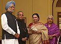 Pranab Mukherjee and the Prime Minister, Dr. Manmohan Singh at Conferment of the Tagore Award for Cultural Harmony, 2012, at Rashtrapati Bhavan, in New Delhi. The Union Minister for Culture.jpg