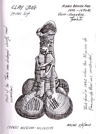 Angastina - Prehistoric Jug, on display at the Cyprus Museum, Nicosia,. It was dug up at Vouno, Angastina, Cyprus in 1962. Drawing by C. Moisa,2012