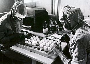 Preparazione di virus attenuati coltivati in uova di pollo. Il vaccino antinfluenzale è un esempio di vaccino preparato in questo modo.
