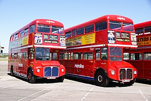 Preserved Metroline Routemaster buses RML2620 (NML 620E) & RML2731 (SMK 731F), 2010 North Weald bus rally.jpg