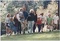 President and Mrs. Bush walk with their grandchildren at Camp David - NARA - 186458.tif