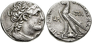 Ptolemy IX Lathyros - Silver tetradrachm of Egyptian pharaoh Ptolemy IX Soter II, 109 BC