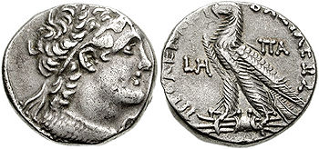 Silver tetradrachma of egyptian pharao Ptolemy...