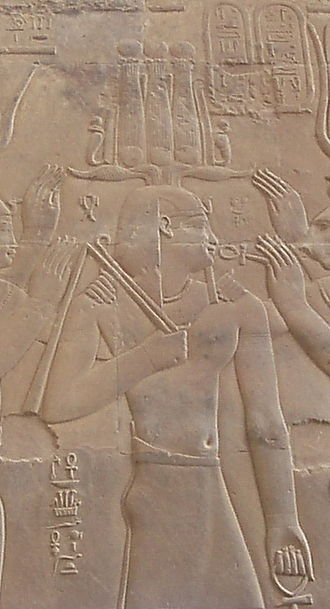Hemhem crown - Ptolemy XII Auletes wearing a hemhem crown, from the temple of Kom Ombo