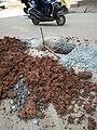 Public Road digging to lay Fibre Optics Cable at Munnekollala, Bengaluru.jpg