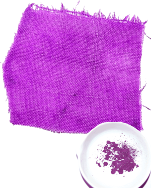 Tyrian purple - A small amount of dibromoindigo as a powder, and its effect on a piece of fabric
