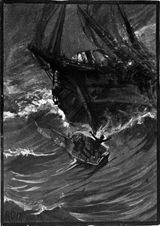 The Narrative of Arthur Gordon Pym of Nantucket - The first section of the novel features Pym's small boat being destroyed.