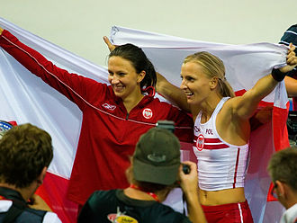 Monika Pyrek - Monika Pyrek (left) after winning the silver at the 2009 World Championships.