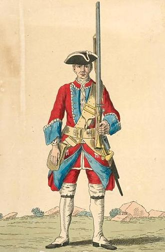 Queen's Royal Regiment (West Surrey) - Soldier of the Queens regiment of foot, 1742