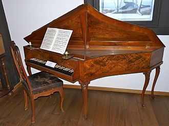 Spinet - Spinet built 1765 by Johann Heinrich Silbermann. Bachhaus, Eisenach, Germany. Click for a more detailed view, revealing the use of bookmatched veneering.