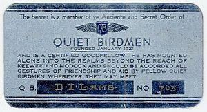 Quiet Birdmen - Dean Ivan Lamb's membership card