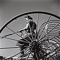 RIVKA DRIVING THE HAY RAKE AT KIBBUTZ MAABAROT. חברת קיבוץ מעברות נוהגת במגרפה.D835-046.jpg