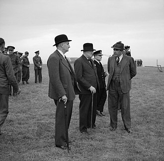 Quebec Agreement - Lord Cherwell (foreground, in bowler hat) was scientific advisor to Winston Churchill (centre)